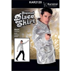 Adult Sequined Disco Shirt Silver